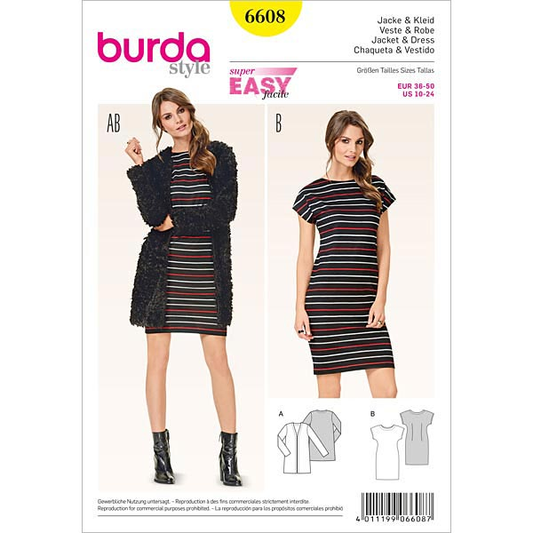 Jacke | Kleid, Burda 6608 | 34 - 48 - Schnittmuster für Anfänger ...