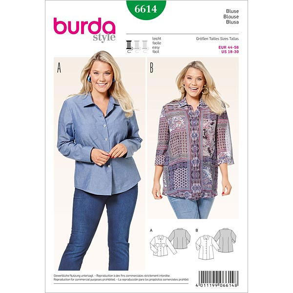 Plus Size - Bluse, Burda 6614 | 44 - 56 - Schnittmuster Tops ...