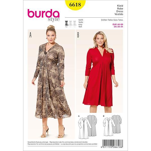 Plus Size - Kleid, Burda 6618 | 46 - 60 - Schnittmuster für Anfänger ...