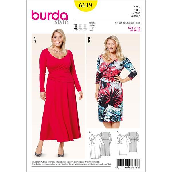 Plus Size - Kleid, Burda 6619 | 44 - 54 - Schnittmuster Kleid- stoffe.de