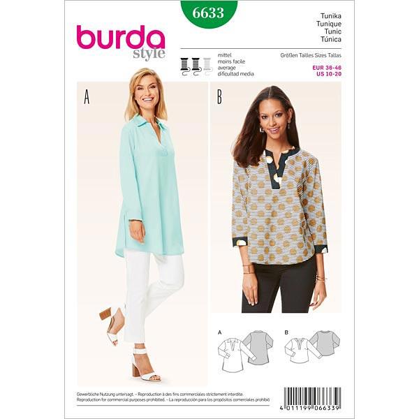 Tunika, Burda 6633 | 36 - 46 - Schnittmuster Tops & Blusen- stoffe.de