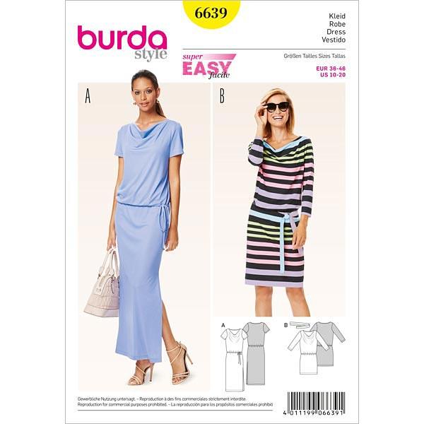 Kleid, Burda 6639 | 36 - 46 - Schnittmuster Kleid- stoffe.de