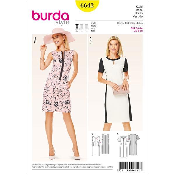 Kleid, Burda 6642 | 34 - 44 - Schnittmuster Kleid- stoffe.de