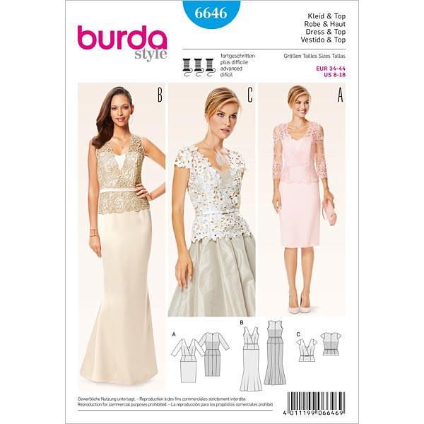 Kleid | Top, Burda 6646 | 34 - 44 - Schnittmuster Tops & Blusen ...