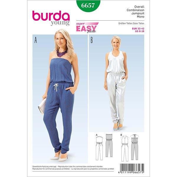 Overall, Burda 6657   32 - 42 - Schnittmuster für Anfänger- stoffe.de