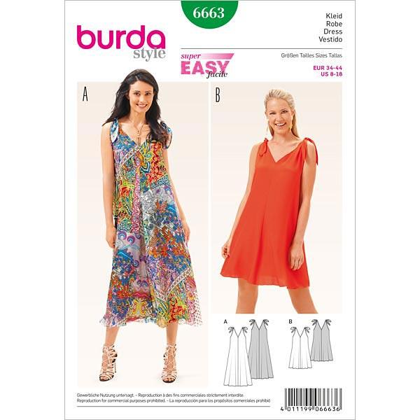 Kleid, Burda 6663 | 34 - 44 - Schnittmuster für Anfänger- stoffe.de