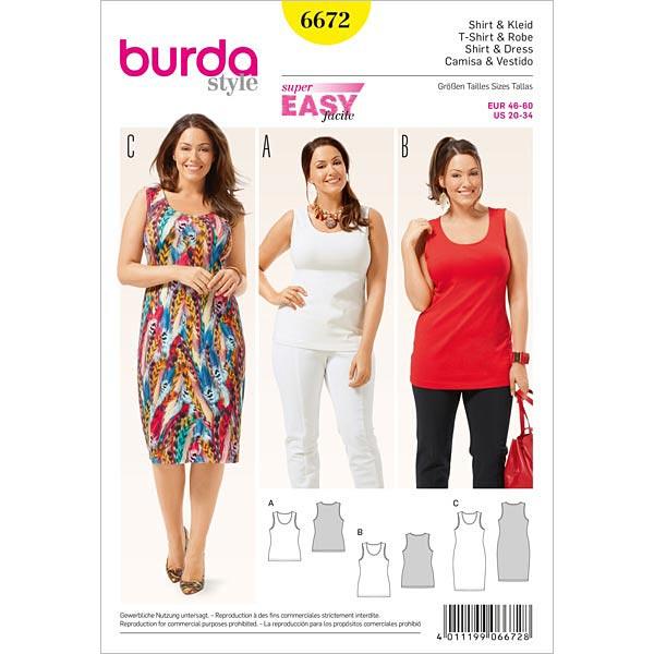 Plus Size - Shirt, Kleid, Burda 6672 | 46 - 60 - Schnittmuster für ...