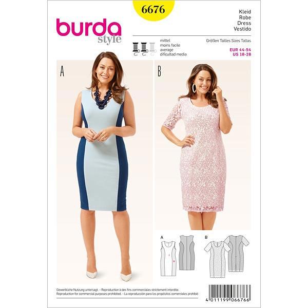 Plus Size - Kleid, Burda 6676 | 44 - 54 - Schnittmuster Kleid- stoffe.de