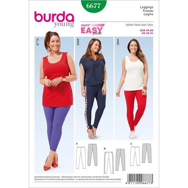 Plus Size - Leggings, Burda 6677 | 46 - 60 - Schnittmuster Plus Size ...