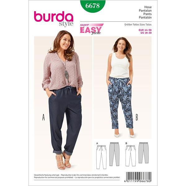 Plus Size - Hose, Burda 6678 | 44 - 56 - Schnittmuster für Anfänger ...