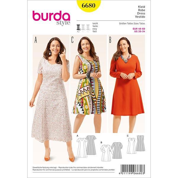 Plus Size - Kleid, Burda 6680 | 46 - 60 - Schnittmuster Kleid- stoffe.de