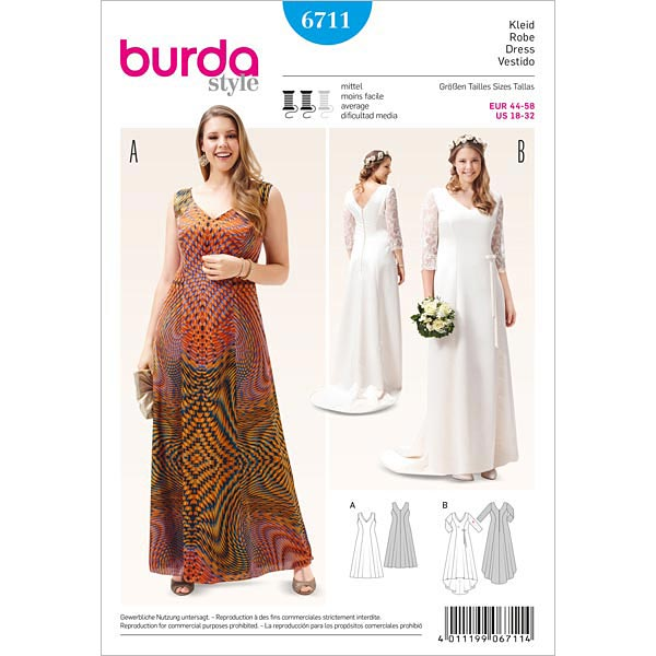 Plus Size - Kleid, Burda 6711 | 44 - 58 - Schnittmuster Plus Size ...
