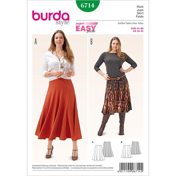Plus Size Rock, Burda 6714 | 44 - 60 - Schnittmuster Plus Size ...