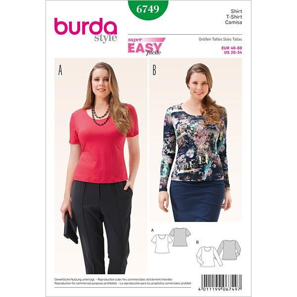 Plus Size - Shirt, Burda 6749 | 46 - 60 - Schnittmuster Plus Size ...
