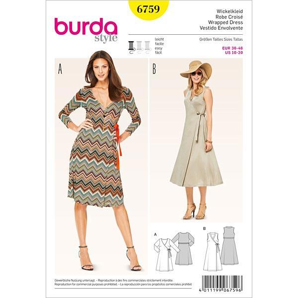 Vestido envolvente, Burda 6759 - Patrón de corte Vestido- telas.es