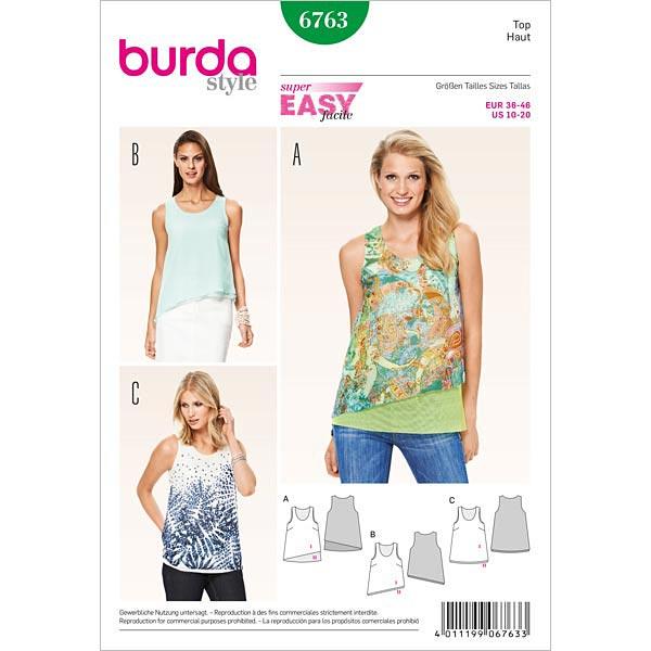 Top, Burda 6763 | 36 - 46 - Schnittmuster für Anfänger- stoffe.de