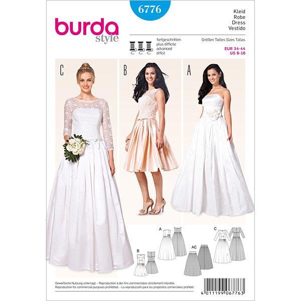 Vestido de novia / de corpiño / falda, Burda 6776 - Patrones de ...