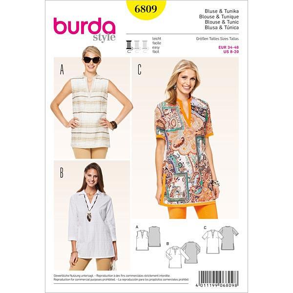 Bluse | Tunika, Burda 6809 | 34 - 46 - Schnittmuster Tops & Blusen ...