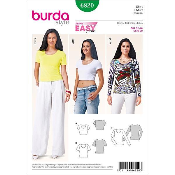 Shirt, Burda 6820   32 - 46 - Schnittmuster Plus Size- stoffe.de