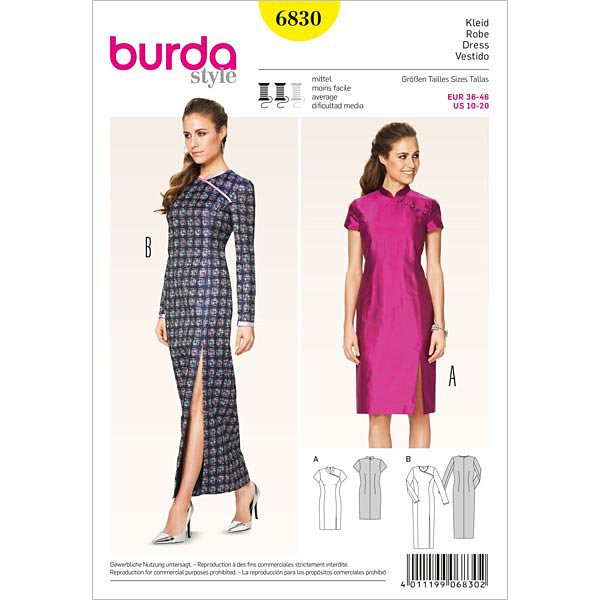 Kleid-Asia-Look, Burda 6830 | 36 - 46 - Schnittmuster Kleid- stoffe.de