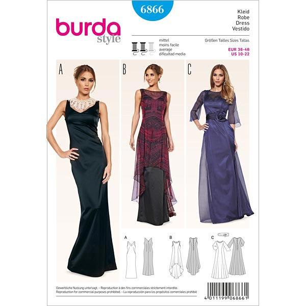 Vestido de fiesta / vestido de abrigo, Burda 6866 - Patrones de ...