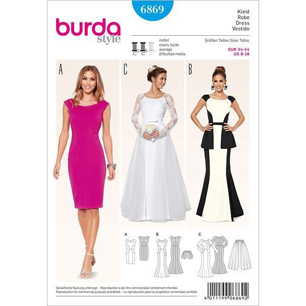 Vestido de novia / de fiesta / levita, Burda 6869 - Patrones de ...