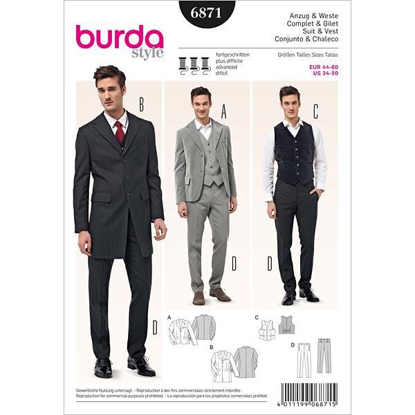 Traje de hombre con chaqueta / levita, Burda 6871 - Patrones de ...