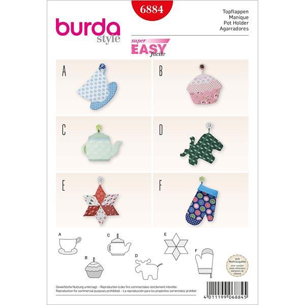 Paño / Manopla de cocina, Burda 6884 - Patrones de corte Hogar- telas.es