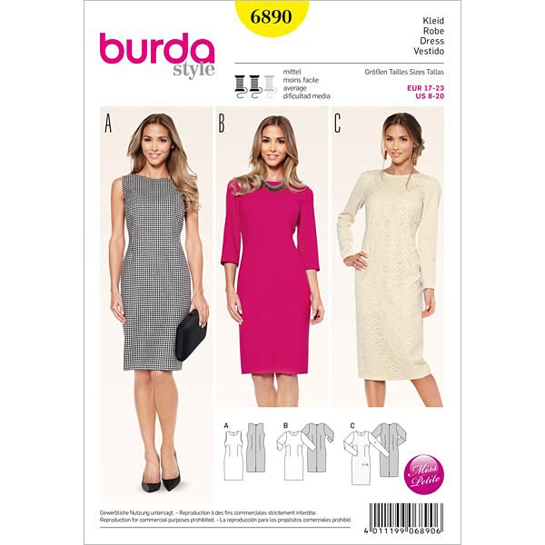 Dress / Shift Dress, Burda 6890 - Historic Costumes & Vintage Sewing ...