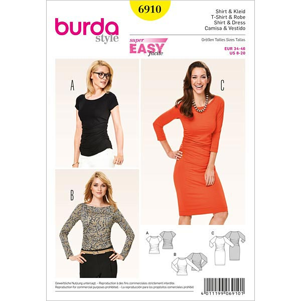 Shirt | Kleid – Raglan-Ärmel, Burda 6910 | 34 - 46 - Schnittmuster ...