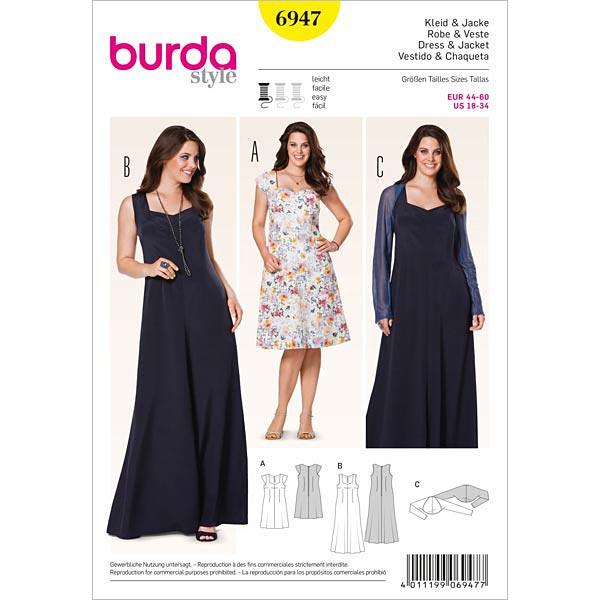 Kleid | Bolero, Burda 6947 | 44 - 60 - Schnittmuster Plus Size ...