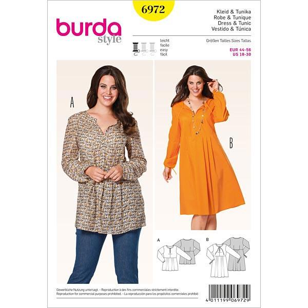 Plus Size - Kleid | Tunika, Burda 6972 | 44 - 56 - Schnittmuster ...