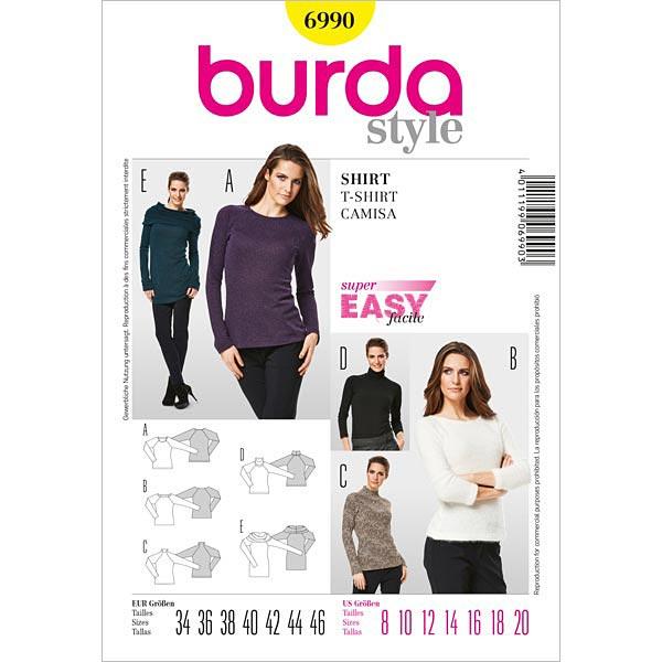 Shirt, Burda 6990 | 34 - 46 - Schnittmuster Plus Size- stoffe.de