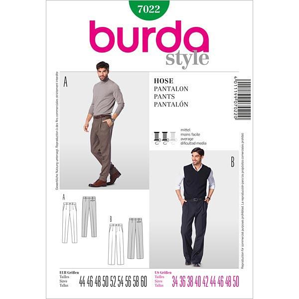 Herrenhose mit Bundfalte, Burda 7022