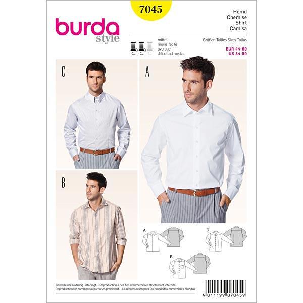 Herrenhemd, Burda 7045 | 44 - 60 - Schnittmuster Herren- stoffe.de
