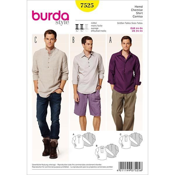 Herrenhemd, Burda 7525 | 44 - 54 - Schnittmuster Herren- stoffe.de