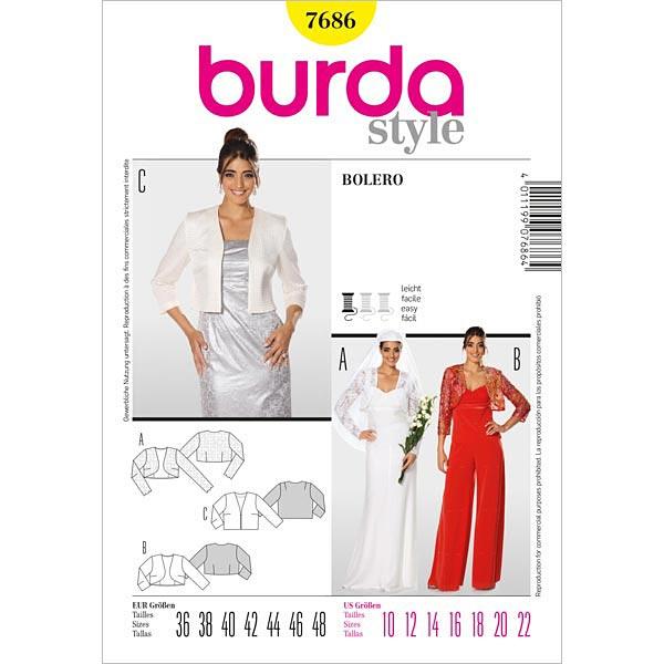 Chaqueta / Bolero, Burda 7686 - Patrones de corte Moda de noche ...
