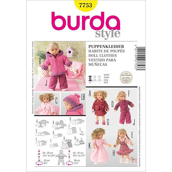Vestido de muñecas, Burda 7753 - Patrones de corte Vestidos de ...