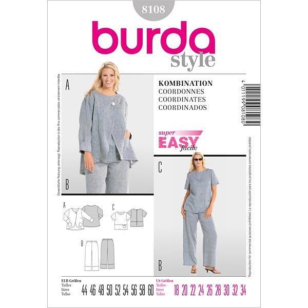 Plus Size - Kombination, Burda 8108 | 44 - 60 - Schnittmuster Plus ...