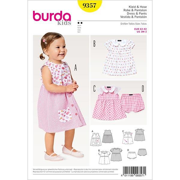 Babykleid | Höschen, Burda 9357 | 62 - 92 - Schnittmuster Baby ...