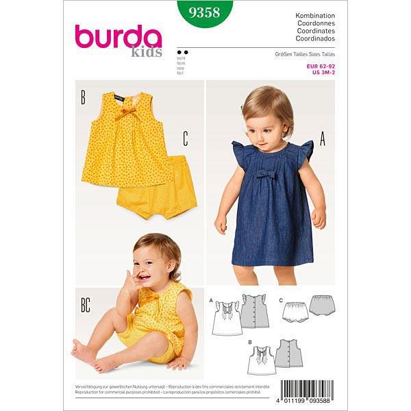 Babykleid | Bluse | Höschen, Burda 9358 | 62 - 92 - Schnittmuster ...