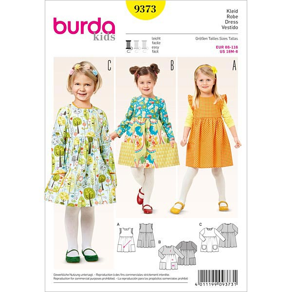 Mädchenkleid, Burda 9373   86 - 116 - Schnittmuster Baby- stoffe.de