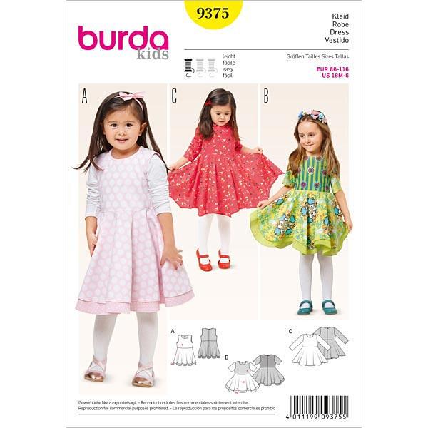 Mädchenkleid, Burda 9375 | 86 - 116 - Schnittmuster Baby- stoffe.de