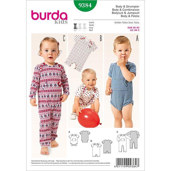 Body | Strampler, Burda 9384 | 56 - 92 - Schnittmuster Baby- stoffe.de