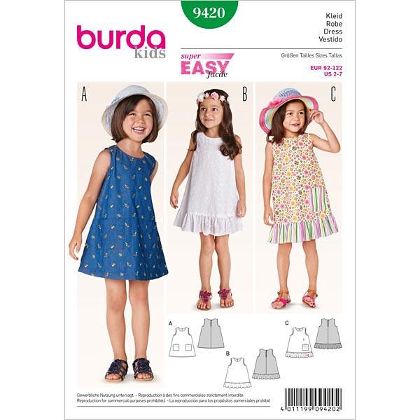 Hängerkleid, Burda 9420 | 92 - 122 - Schnittmuster Baby- stoffe.de