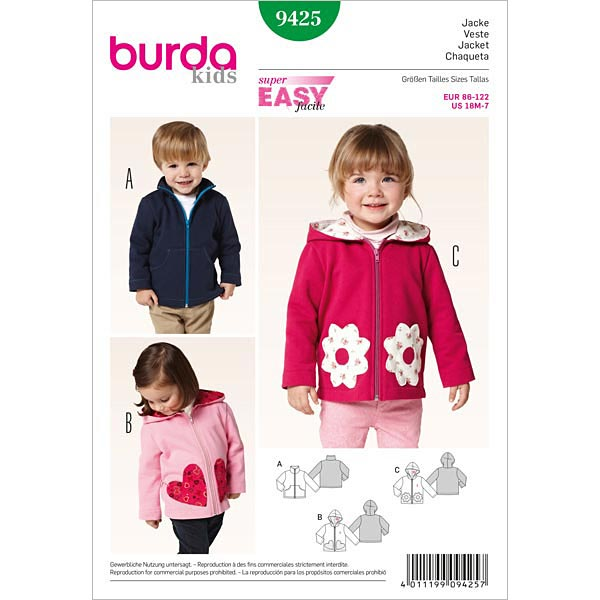 Jacket Hooded Jacket Burda 9425 Baby Sewing