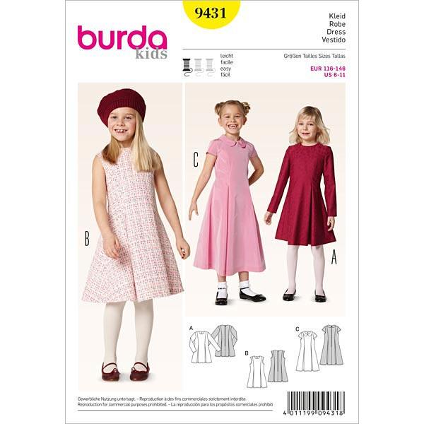 Kleid mit Kellerfalten, Burda 9431 | 116 - 146 - Schnittmuster ...