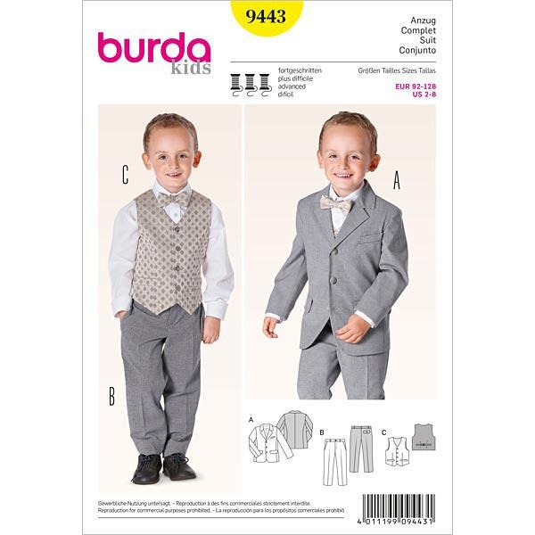 Jungenanzug mit Weste, Burda 9443 | 92 - 128 - Schnittmuster Baby ...