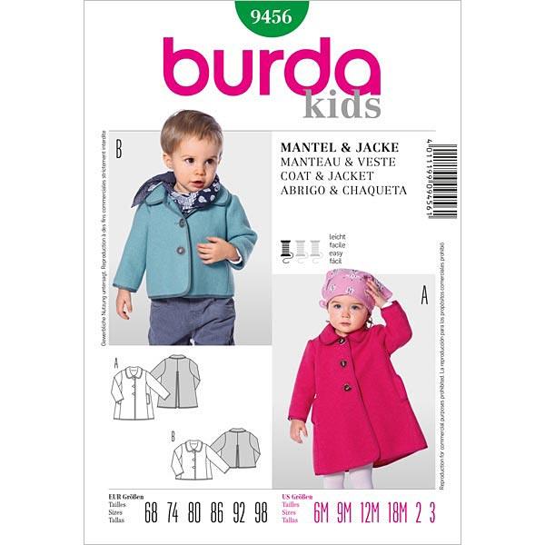 Babymantel | Jacke, Burda 9456 | 68 - 98 - Schnittmuster Baby- stoffe.de