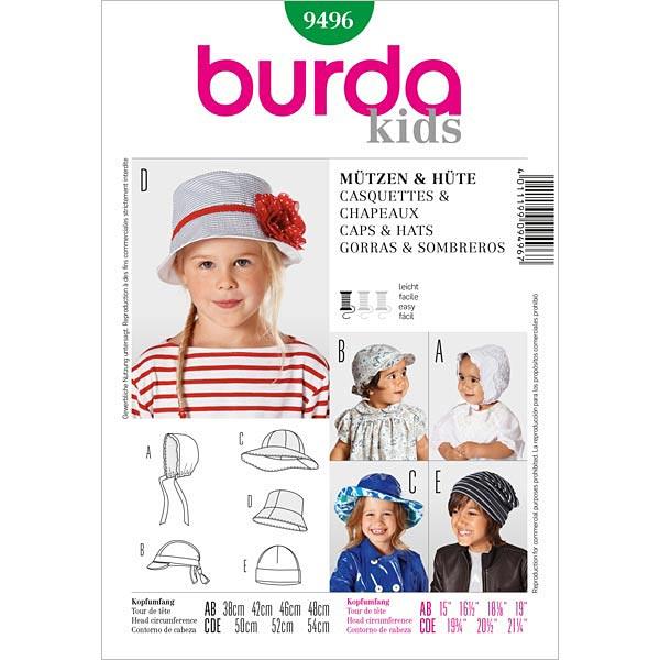 Sombreros para niños / Gorros, Burda 9496 - Patrones de corte Bebé y ...
